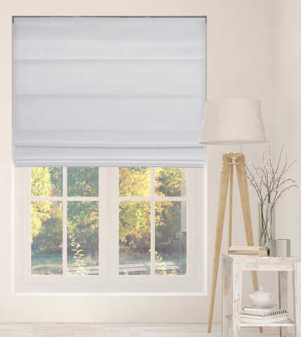 Cordless Fabric Roman Shades LF Cloud White,Width from 22