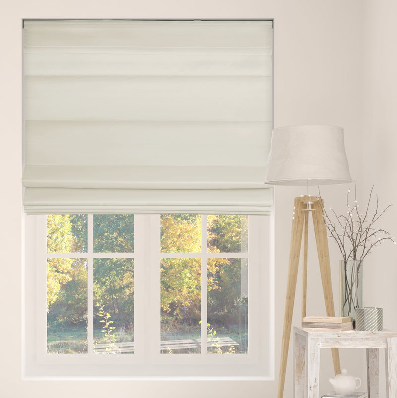 Cordless Fabric Roman Shades Light Filtering Ivory with white Backing
