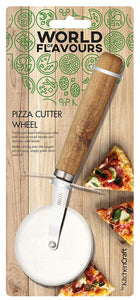 Pizza Cutter Wheel with Hand Carved Wooden Handle, Stainless Steel