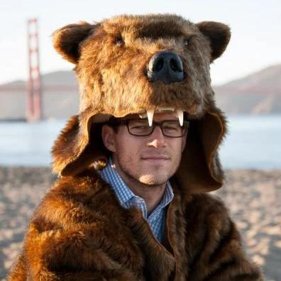 brown bear coat at the beach