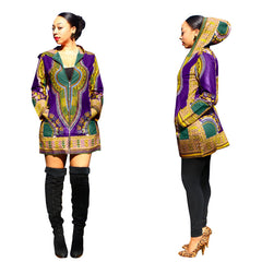 DASHIKI HOODED DRESS