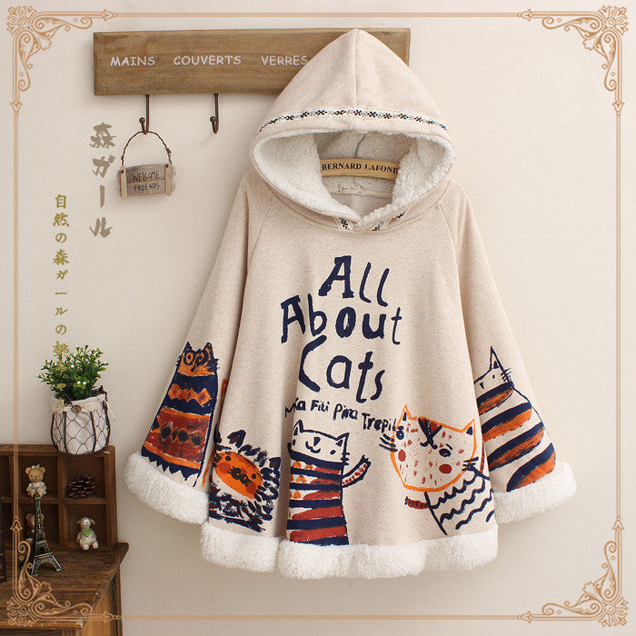 All About Cats Cape Cloak Hoodie