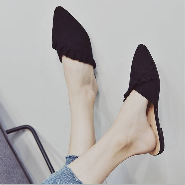 New Pointed Toe Mules Suede Leather Flat Shoes