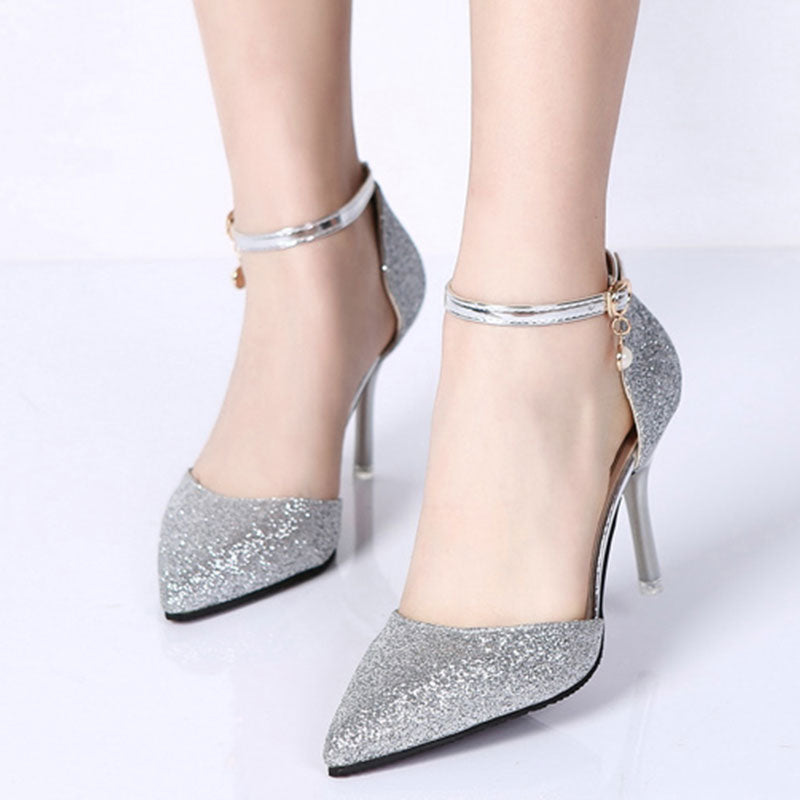 Fashion Buckle Crystal Bling Pumps Women Elegant Thin High Heels