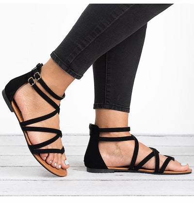 Flat Rome Style Cross Tied Sandals
