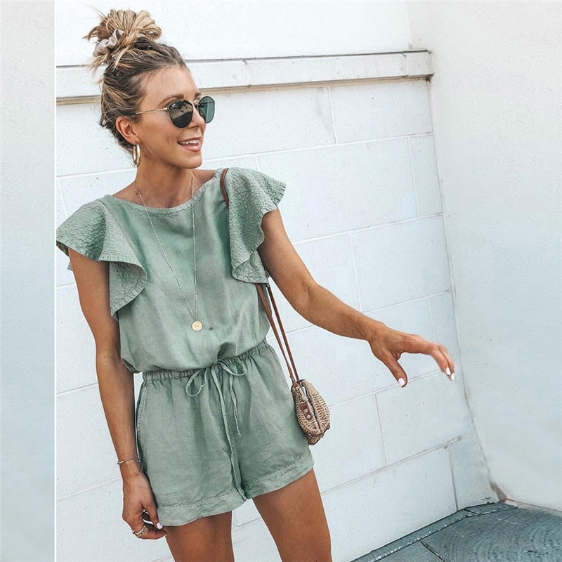 Elegant Short Cotton Linen Casual Ruffles playsuit