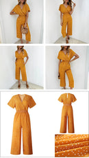 Short Sleeve Wide Leg Loose Jumpsuit