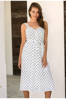 Polka dot Sleeveless buttons belt beach midi dress