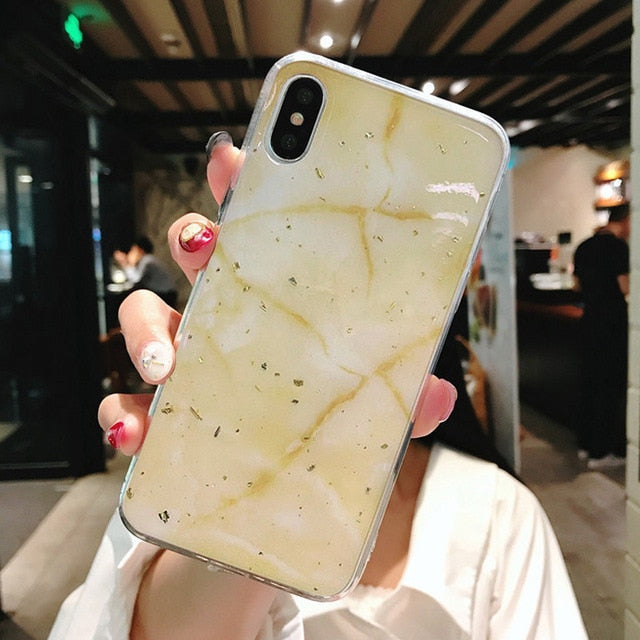12 COLOR Gold Foil Marble Glitter Soft TPU For iPhone 8 PLUS