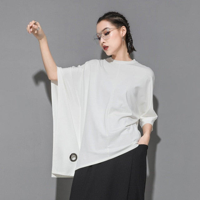 Round Neck Half Batwing Sleeve Black Loose Hollow Out Big Size T-shirt