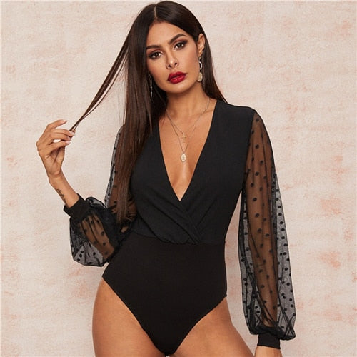 Sexy Black Plunging Neck Mesh Lantern Sleeve Wrap Bodysuit
