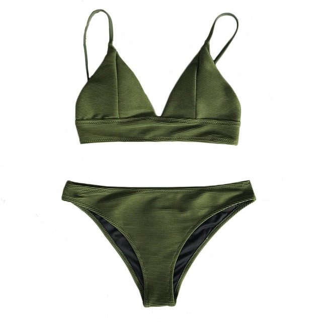 Army Green Solid Bikini Set