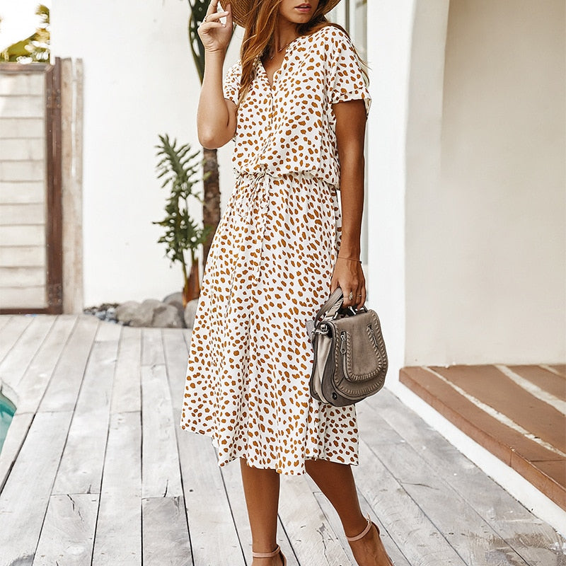 Dots Print White Summer Dress