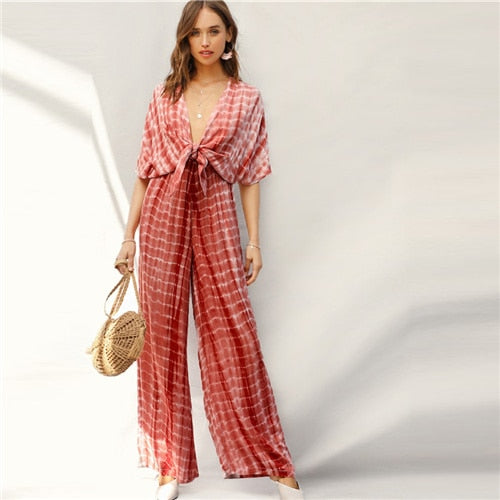 Rust Plunging Neck Knot Front Tie Dye Palazzo Jumpsuit