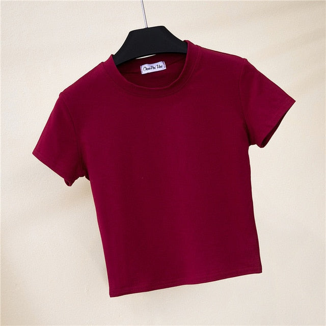 Solid Cotton O-Neck Short Sleeve T-shirts