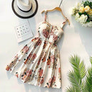 Spaghetti Strap Print Floral Sleeveless Empire Beach Dress