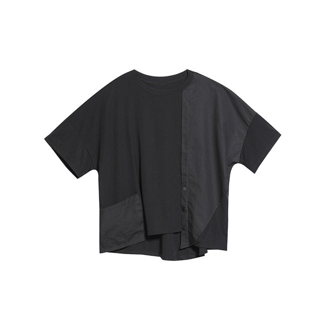 Round Neck Half Sleeve Black Button Split Joint Loose Big Size T-shirt