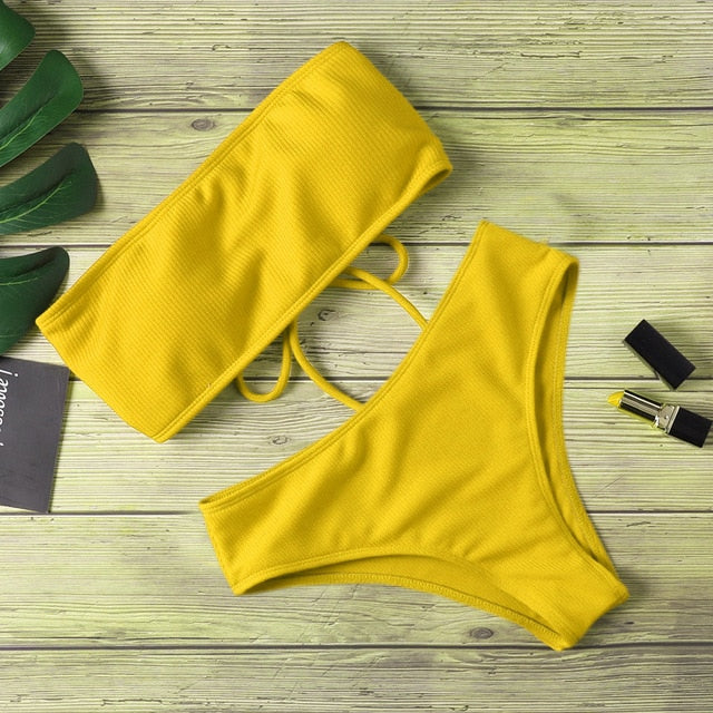 High Waist Strapless Bikini Pure Color Swimsuit