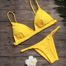 Yellow Women Swimsuit Solid Brazilian