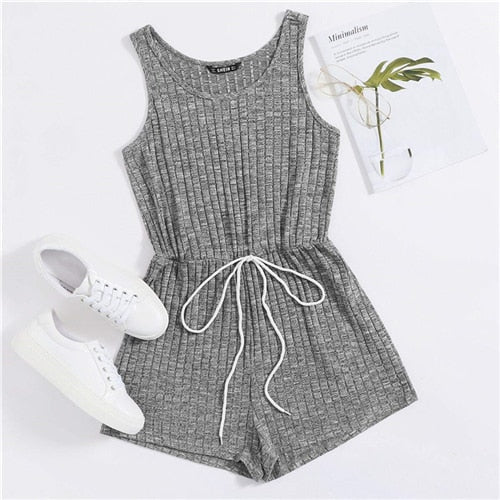 Tie Front Heather Rib-knit Tank Romper Scoop Playsuits