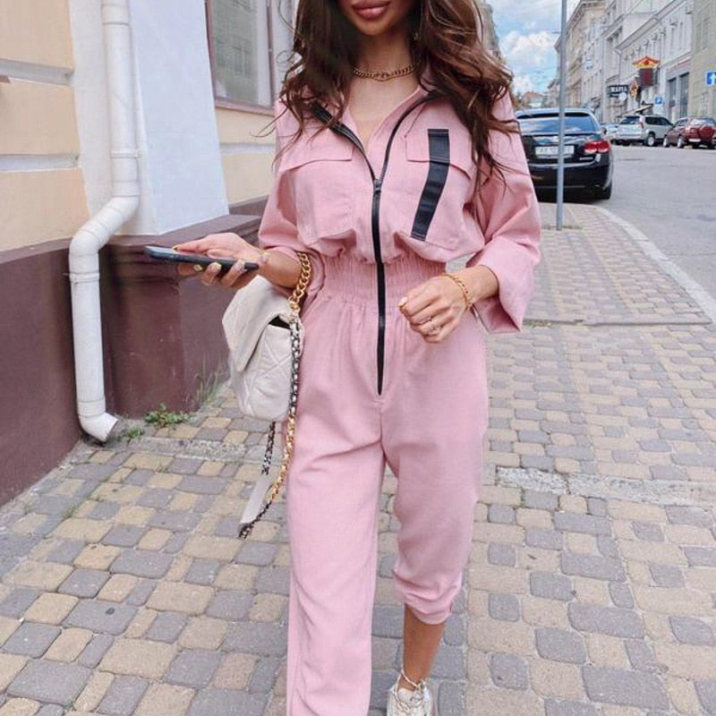 Solid color zipper women's Jumpsuit