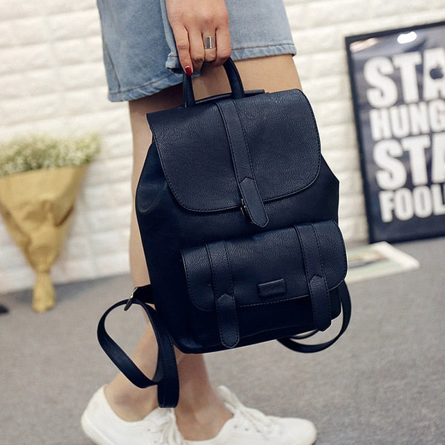 Solid Vintage Bags for Girls PU Leather