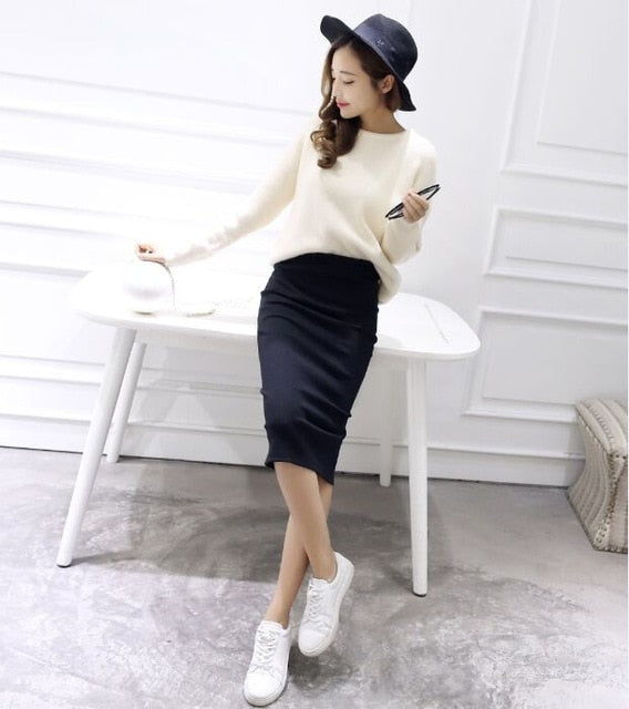 Sexy Chic Pencil Skirts Wool Rib Knit Long Skirt