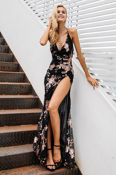 Sexy lace up halter sequin party dresses