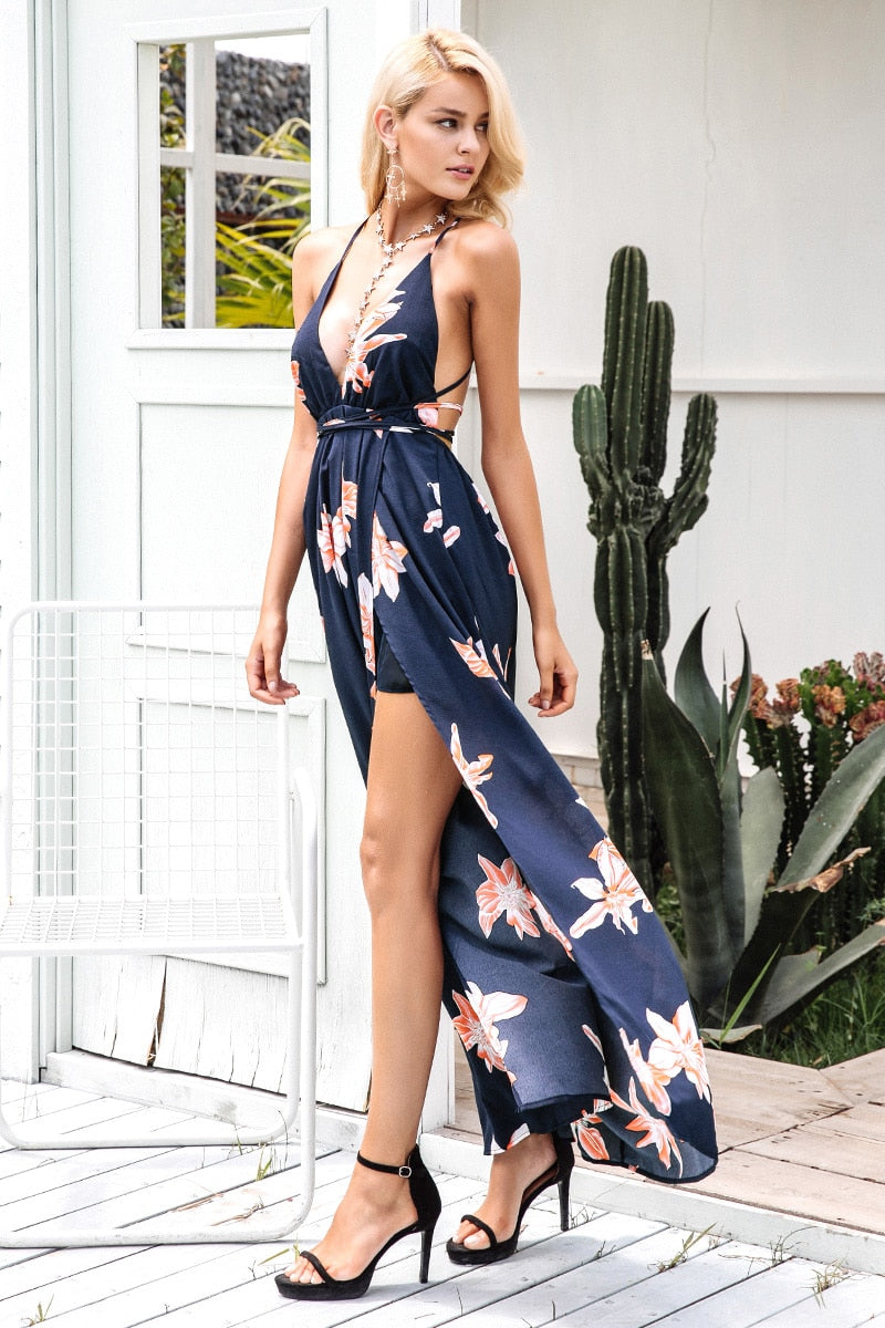 Boho deep v neck backless sexy dress