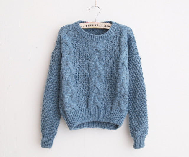 Warm Pullover and Jumpers Crewneck Twist Pull