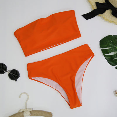 High Leg Bandeau bikini set Swimwear female