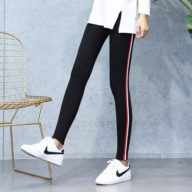 High Quality Cotton Leggings Side stripes