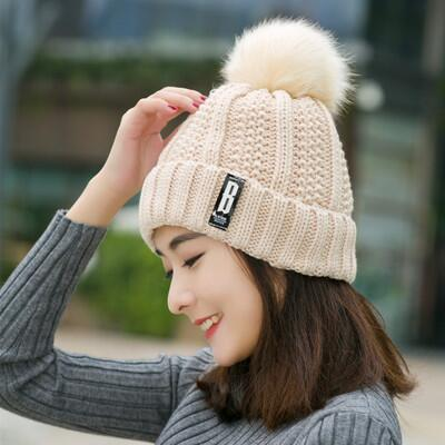 B letters knitted Hat