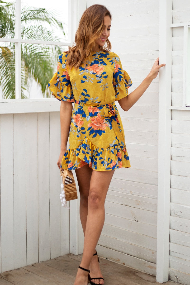 Sash floral print boho mini dress