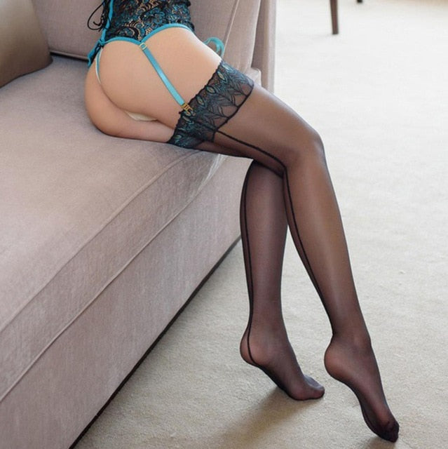 Sexy Back Seam Stockings Embroidery Peacock