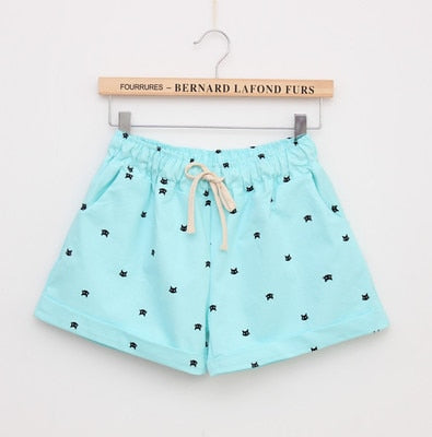 Cats Pattern High Waist Elastic Cotton Short