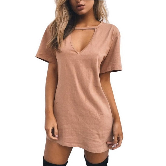 V Neck Cotton Dresses Loose A-Line