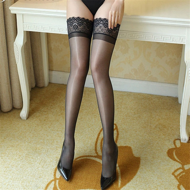 Sexy Lingerie Stay-up Stockings With Silicone
