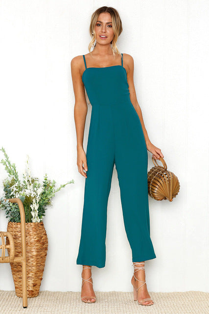 Sexy Jumpsuit  Ankle-Length Pants Solid Fashion Higt Waist