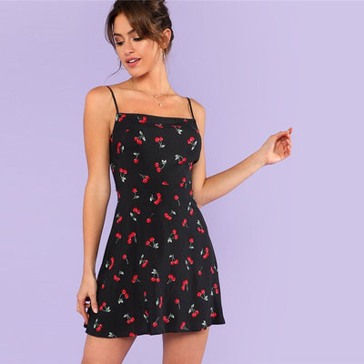 Allover Cherry Print Cami Dress