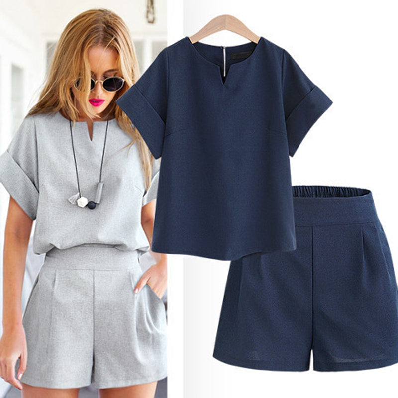 Casual Cotton Linen V-neck short sleeve tops  shorts two piece set