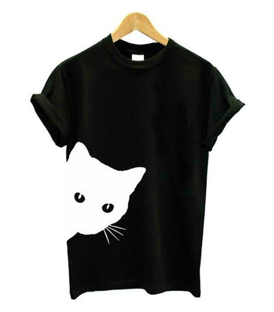 cat looking out side Print Women tshirt