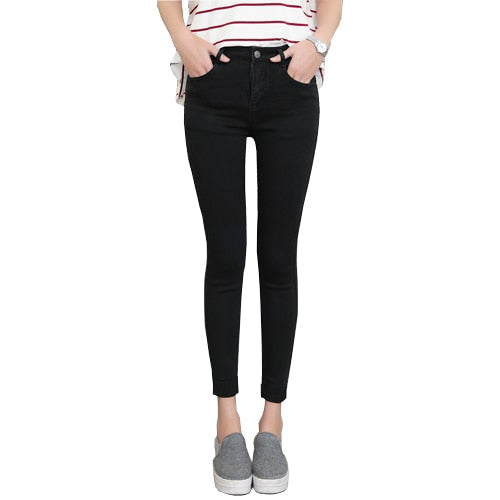 Ankle-Length Cuffs Black Jeans Students Stretch