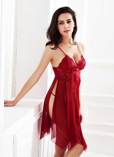 Hot Nightwear Sexy Lingerie Lace Slits Nightdress