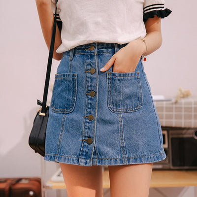 Denim Skirt High Waist A-line Mini Skirts