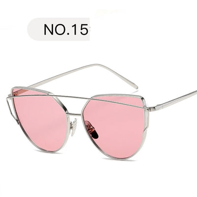 Luxury Cat eye Brand Design Mirror Rose  sun glasses