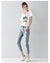 Hole ripped jeans women harem pants loose ankle-length