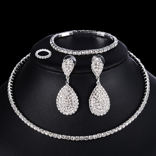 4 PCS Luxury Wedding Bridal Jewelry