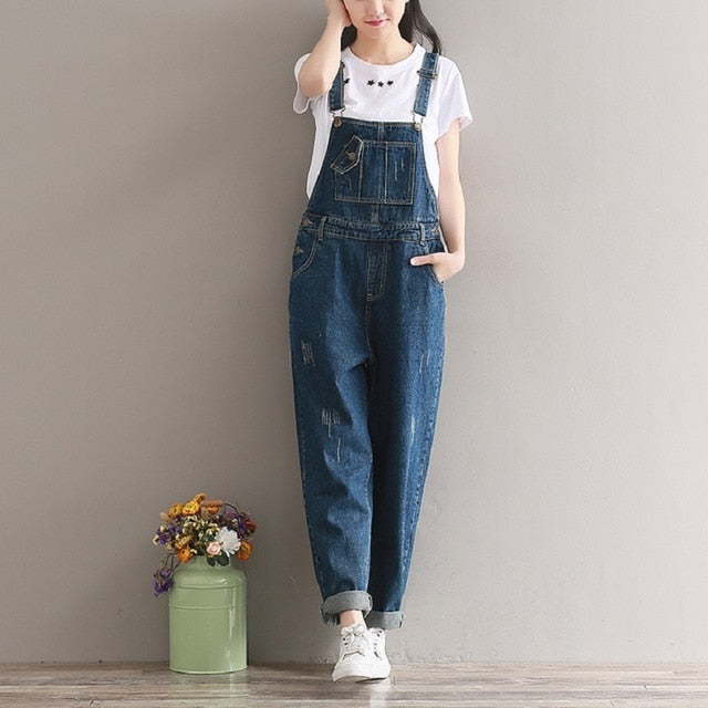 Spring Summer Wide Leg Jeans Jumpsuits