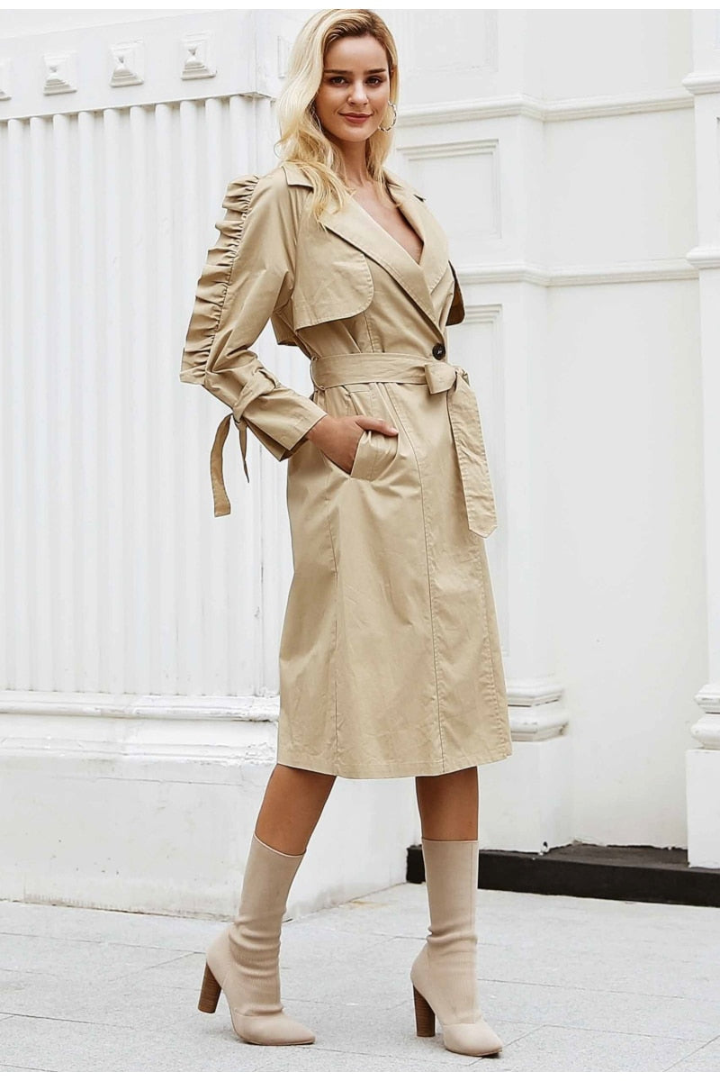 Elegant v neck khaki long trench coat